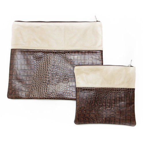 Genuine Leather Tallit and Tefillin bag cream and brown   LR07