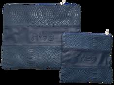 blue leather tallit bag