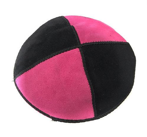 Pink and Black Suede Kippah