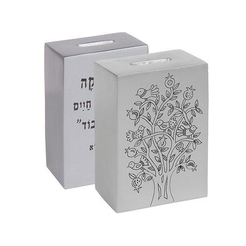 Anodized Tzedaka Box- silver Emanuel