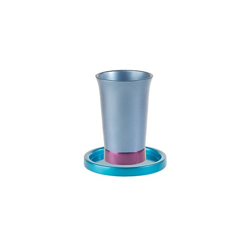 Yair Emanuel Blue Anodized Aluminum Kiddush Cup an