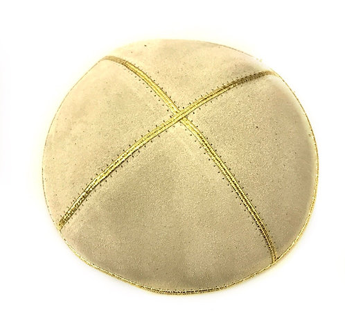Beige With Gold Trimming Suede Kippah
