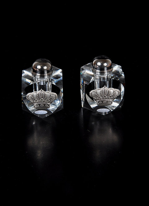 Crystal glass salt and pepper with silver plated crowns