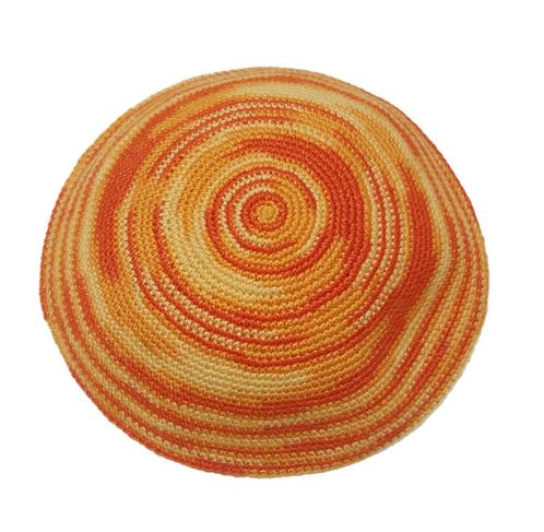 Orange Knitted kippah hand made #452