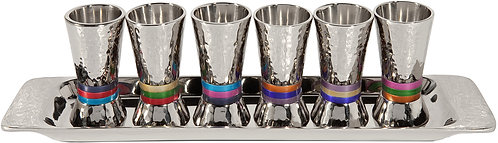 Set 6 cups - nickel + hammerwork - multi color rings. Emanuel collection