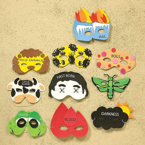 TEN PLAGUES MASKS, SET OF 10, CARDED