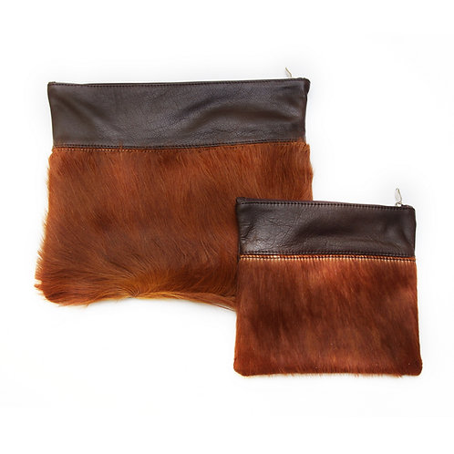 Genuine mix fur Leather Tallit and Tefillin bag  brown MFR06