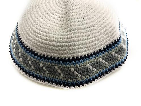 White Base Knitted Kippah size M