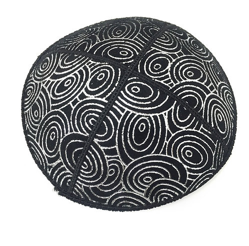 Black Sued Kippah With Silver Embossed  Patterns