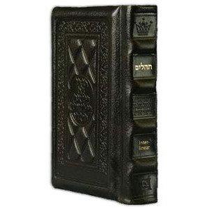 Interlinear Tehillim /Psalms Full Size Dark Brown Leather The Schottenstein Ed