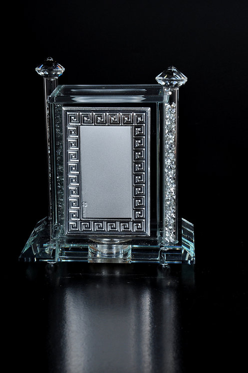 Crystal glass charity box with silver plated, small