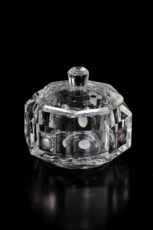 Crystal honey jar with silver plated design