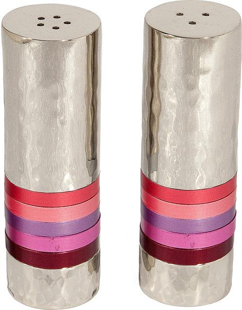 Salt &; Pepper Set - nickel + hammerwork - maroon rings r