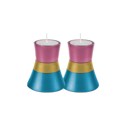 Pink Gold and Turquoise Colorful Yair Emanuel Shabbat Tea Light Candle Holder