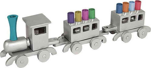 Yair Emanuel grey & multi coloured Train  Menorah HMY 1