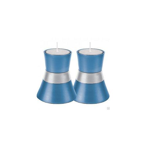 Blue and Silver Yair Emanuel Shabbat Tea Light Candle Holder