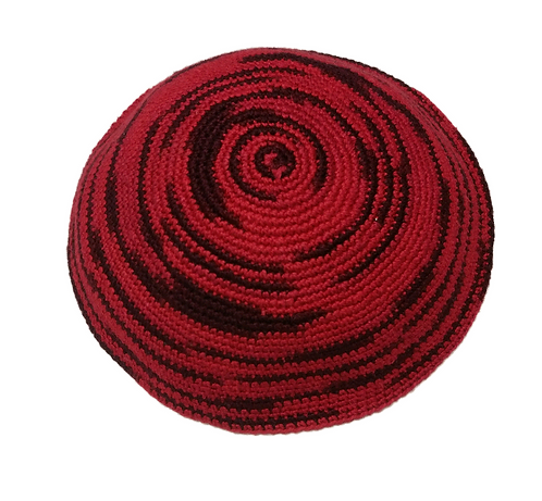 Red Knitted kippah hand made #450
