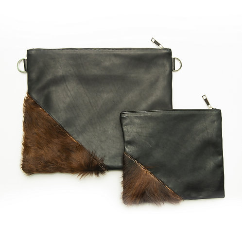 Genuine mix fur Leather Tallit and Tefillin bag brown MFR02