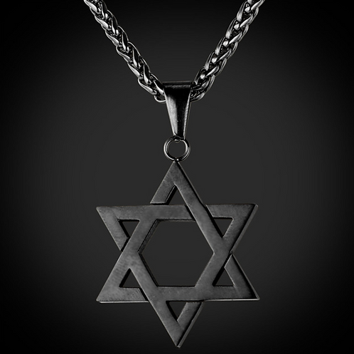 Black Star Of David Pendant Necklace Stainless Steel