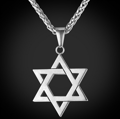 Silver Star Of David Pendant Necklace Stainless Steel