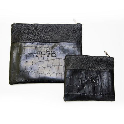 Genuine Leather Tallit and Tefillin bag black LR017