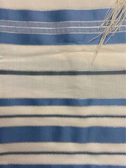 Tallit with light Blue Stripes with silver lines