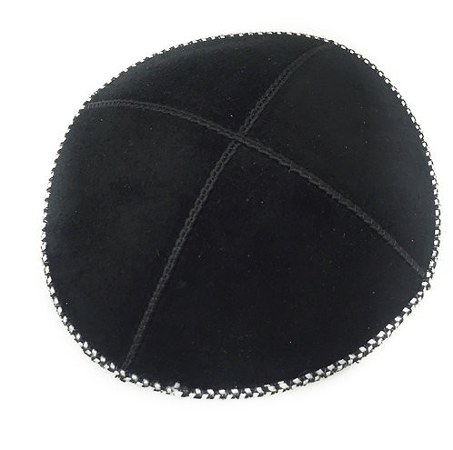 Black Suede Kippah With White and Black Threading  Rim