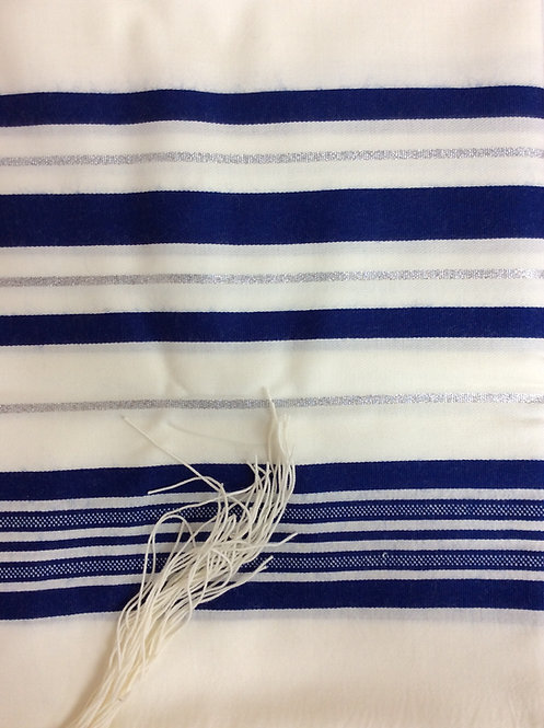 Tallit with Blue Stripes with silver lines