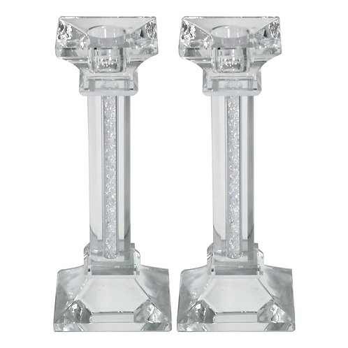 Crystal Shabbat Candlesticks with Decorative Pillars in 20cm
