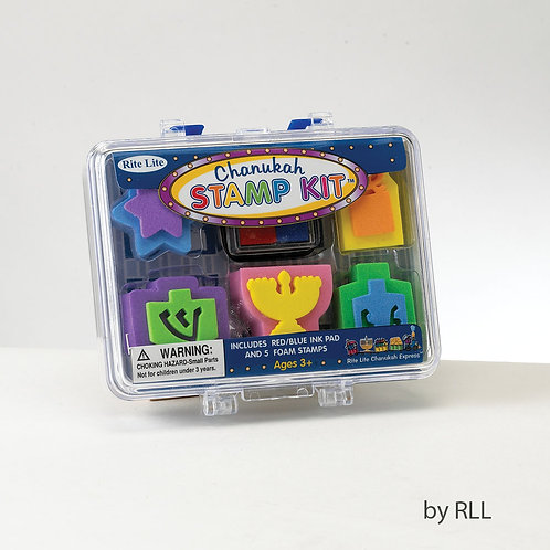 CHANUKAH STAMP SET, 5 STAMPS, BLUE/RED INK PAD, CLEAR CASE