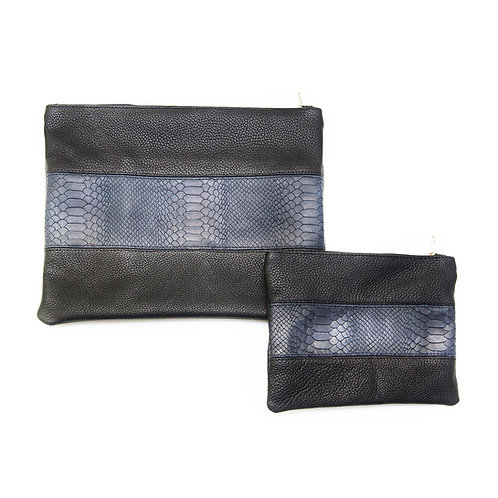 Genuine Leather Tallit and Tefillin bag blue and black   LR06
