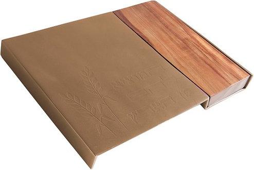 Metal Challah Board+ wood- gold