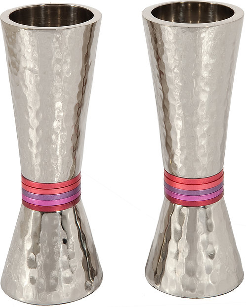 Candlesticks - cone - nickel + hammerwork - maroon rings emanuel