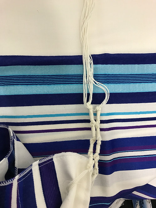 Tallit WithTurquoise, Blue and Purple Stripes