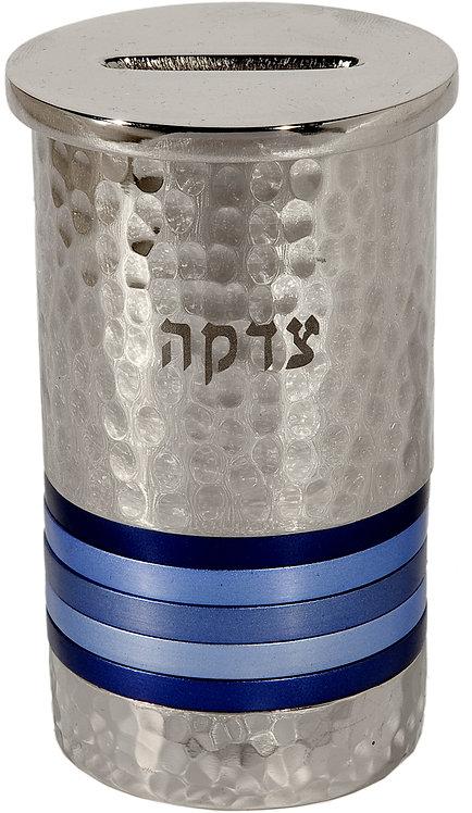 Tzedakah Box - nickel + hammerwork - blue rings, Emanuel
