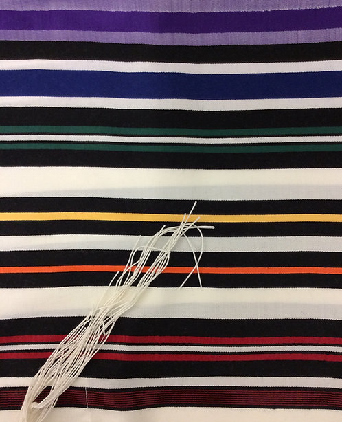 Tallit With Multicoloured Blue, Purple, Red, Yellow, Orange and Green Stripes