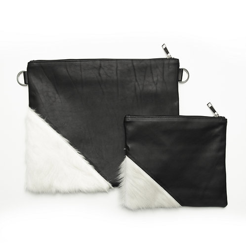 Genuine mix fur Leather Tallit and Tefillin bag black  and whiteMFR05