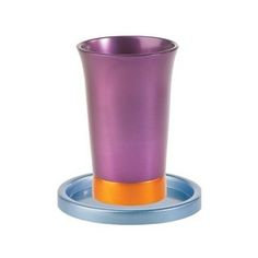 Yair Emanuel purple , Blue and Orange Anodized Aluminum Kiddush Cup an