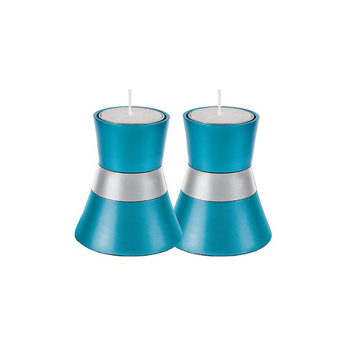 Shabbat Tea Light Candle Holder in Turquoise and Silver by Yair Emanuel