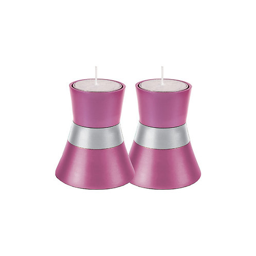 Pink and silver Yair Emanuel Shabbat Tea Light Candle Holder