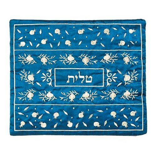 Tallit Bag - Embroidery - Pomegranate Blue + Silver tbs 2bs