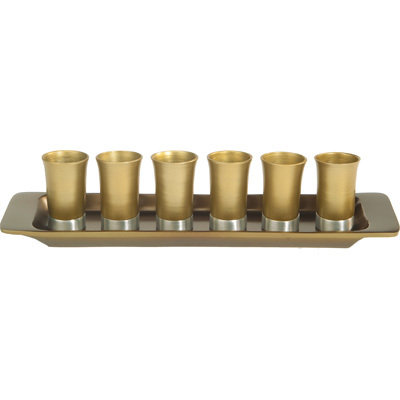 Metal 6 small cups+ Plate- gold, Emanuel collectio