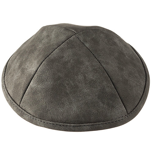 Like leather grey Kippah 19 Cm- Squares 15392