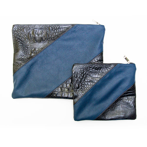Genuine Leather Tallit and Tefillin bag blue and black   LR05