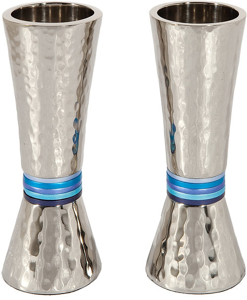 Candlesticks - cone - nickel + hammerwork - blue rings emanuel