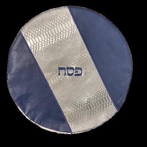 Genuine Leather Matzah cover  Blue and silver   MTC05