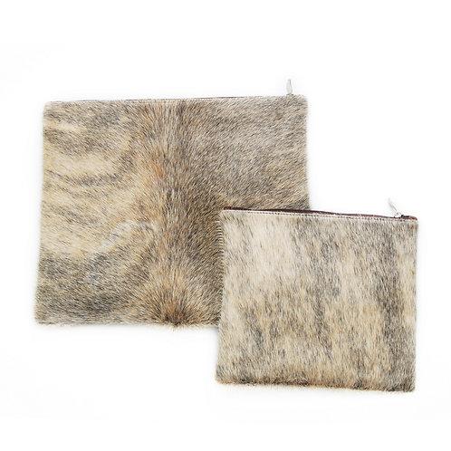 Genuine fur Leather Tallit and Tefillin bag black and beige  FR05