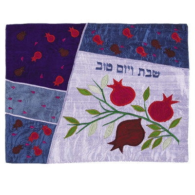 Pomegranates- blue, emanuel silk