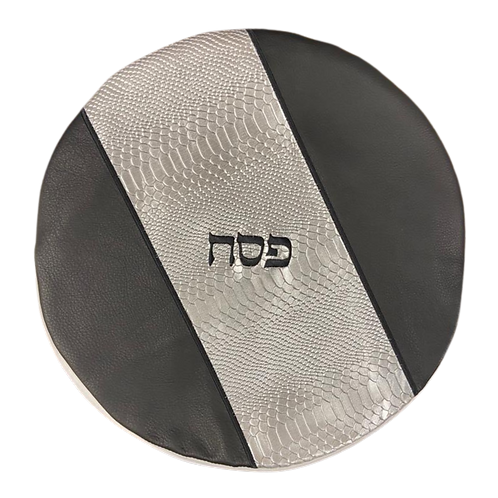 Genuine Leather Matzah cover  Black and silver  MTC01