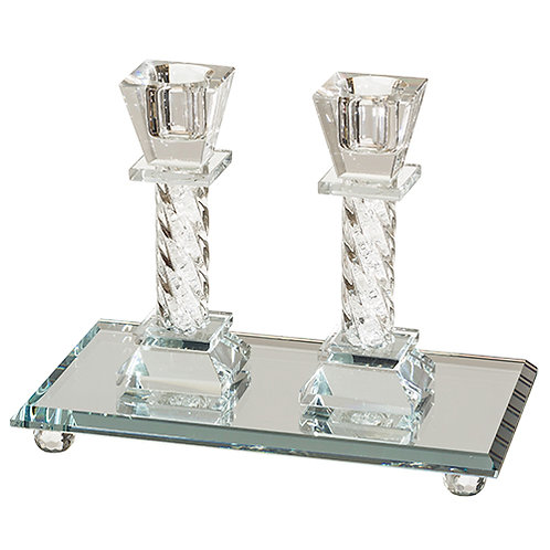 Crystal Elegant Candlesticks - Stones 11.5 Cm With Elegant Tray 18x10 Cm